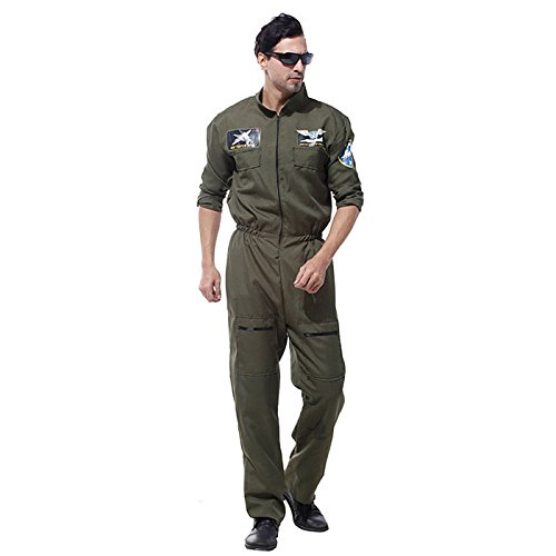 HDE Men's Flight Suit Halloween Costume Ace Pilot Top Gun Adult Sized (Halloween Costumes To Wear To Work Ideas)