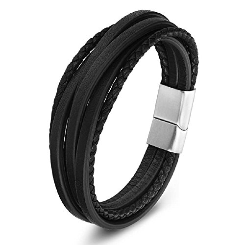 (Zen Styles Men's Black Leather Bracelet, Multi-Strand Braided Cuff, Stainless Steel Magnetic Clasp, Premium Quality, Fits 7.5