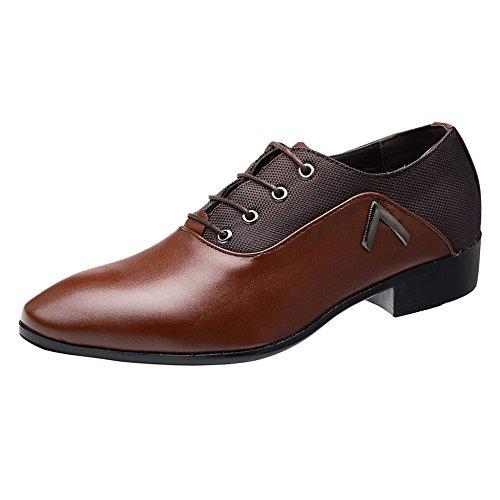 WKNBEU Vernice Uomo Primavera Estate Nero Giallo Marrone Moda Low Top Casual Formale Derby Oxford Pointed Retro Business Lace Shoes A