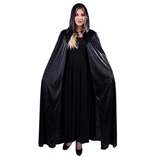 FloYoung Gothic Hooded Velvet Cloak Wicca Cape Halloween Party Costumes Black (Vampire Cheerleader Costumes)