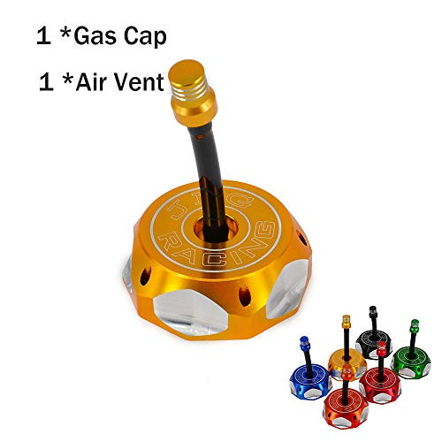 (CNC Aluminum Gas Fuel Tank Cap Cover With Breather Valve Air Vent Hose Tube For Honda XR CRF 50 XR50 CRF50 style and clone chinese pit bike Dirt Pit Bike Gold)
