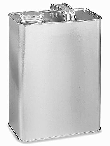 1 Gallon F-Style Oblong Screw-Top Metal Cans with 1 1/4 Inch Alpha Screw Caps | 10 Pack ()