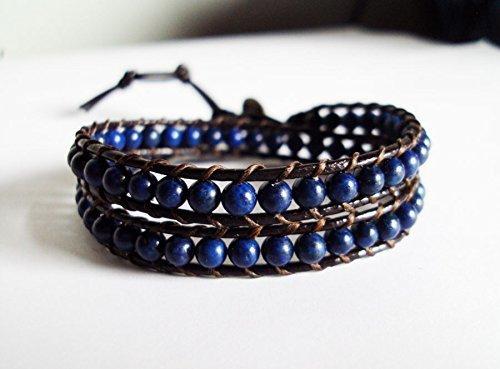 2 wrap kyanite bracelets,stone bracelets,leather bracelets,men bracelets,women bracelets,blue bracelets,fashion bracelets