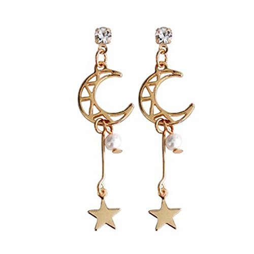 Pearl Moon Earrings - 18K Gold Plated CZ White Crystal Moon and star with pearls Long tassel Dangle Drop Earrings