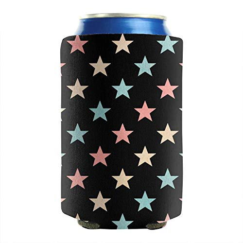 Set of 2 Durable Collapsible Fully Stitched Insulated Bottles Holder Neoprene Beverage Coolers 12 to 16 oz American flag Watercolor stars Cold Drink Soda Water Beer Can Coolers Sleeves