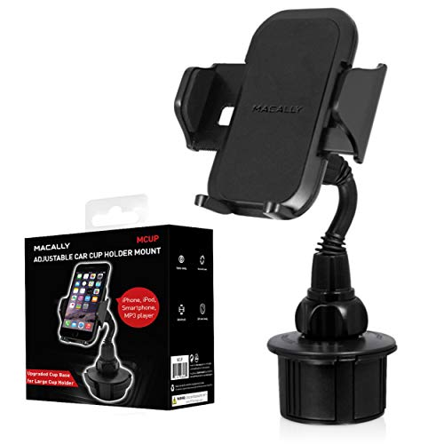 Macally Cell Phone Cup Holder for Car Mount for Apple iPhone XS XS Max XR X 8 8+ 7 7 Plus 6s 6 5s SE, Samsung Galaxy S10 Plus S9 S8, Note, LG, Nexus, Google Pixel 3, Motorola, Smartphones, GPS (MCUP) (Car Accessories Ipod)