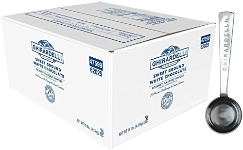 Ghirardelli - Sweet Ground White Chocolate Flavored Gourmet Powder Beverage Mix, 10 Pound Box - with Limited Edition Measuring Spoon (White Chocolate Ground Sweet)