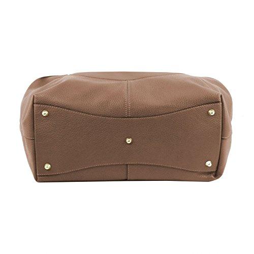 Tuscany Leather Cinzia - Bolso shopping en piel soave - TL141515 (Rosa pálido) Dark Taupe