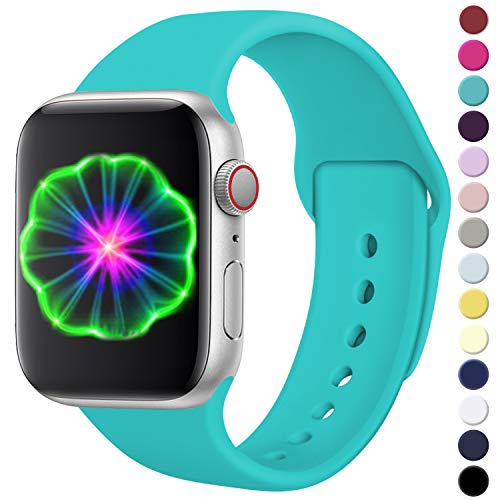 Laffav Compatible with Apple Watch Band 40mm 38mm, for Women Men, Silicone Sport Replacement Band Compatible with Apple Watch Series5/4/3/2/1, Medium/Large, Teal from Laffav