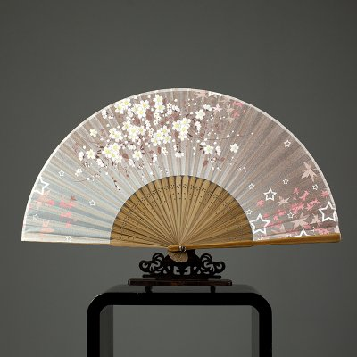Silk fan antiquity fan Folding Women's Chinese style Folding Dance fan Small fan Silk bamboo fan Style I by grocerystore