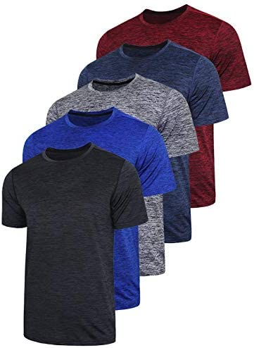 41if%2BY682SL. AC 5 Pack Men's Active Quick Dry Crew Neck T Shirts | Athletic Running Gym Workout Short Sleeve Tee Tops Bulk    Product Description