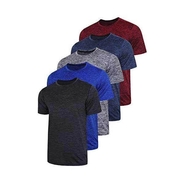 5 Pack Men's Active Quick Dry Crew Neck T Shirts | Athletic Running Gym Workout...