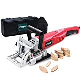 "AOBEN 8.5 Amp Biscuit Cutter Plate Joiner With No. 0 Wood(30 Pcs) No. 10 Wood(30 Pcs) No. 20 Wood(50 Pcs), 4"" Tungsten Carbide Tipped Blade, Adjustable Angle And Dust Bag"