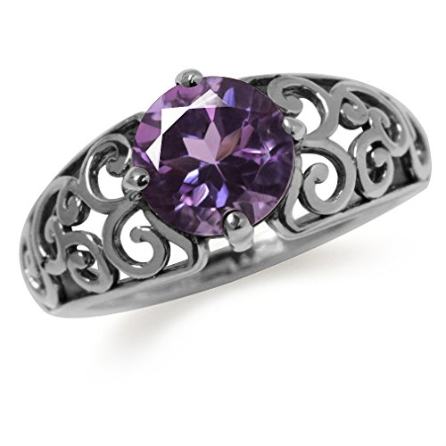 1.66ct. Natural Amethyst 925 Sterling Silver Filigree Swirl & Spiral Ring Size 10 ()