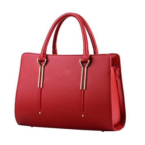 Handle Top Handbag Bags Tote Color Wine Leather Pure Boutique Pu Womens Red z8qUw0Y