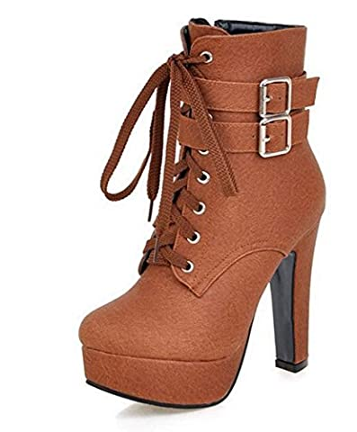 Boots For Women Fashion Ankle High Heels Buckle Round Toe Platform Sexy Style Brown 5 (Kid Teva Flip Flops)