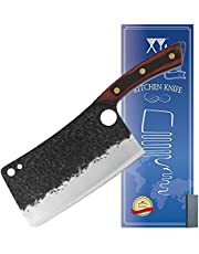 XYJ Chinese Chef Knife Cleaver 7.5 Inch Butcher Kitchen Chopping Raw Meat Vegetable Heavy Duty Chopper Full Tang Hammer Finish Blade With Pakka Wood Handle Black - Finger Hole Knives