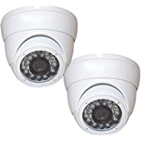 Evertech 2 Pcs 800TVL Weather Proof Dome 24 IR Wide Angle Lens White Dome Security Camera for Indoor Outdoor