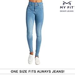 This One Size Fits Always denim is designed to make you look and feel wonderful even if yourweight changes. My Fit Jeans are made with Flex Tech Denim Technology that allow thejeans to conform to your unique body shape, size and height. My Fi...