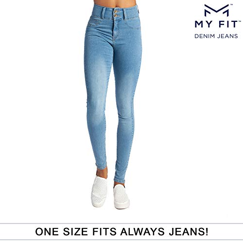 - My Fit Jeans- SIZE 2-12 LIGHT WASH: Women's Stretch Denim Jeans with Pockets and the Comfort of Leggings, Petite through Plus Size