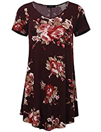 All for You Women's Round and V-Neck Flare Short Sleeve Tunic