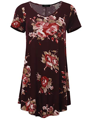 All for You Women's Short Sleeve V-Neck Flare Hem Floral Print Tunic Burgundy 28115 XX-Large