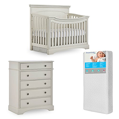 Evolur Windsor Flat Top Crib and 5 Drawer Chest with Free 260 Coil Crib/Toddler Mattress