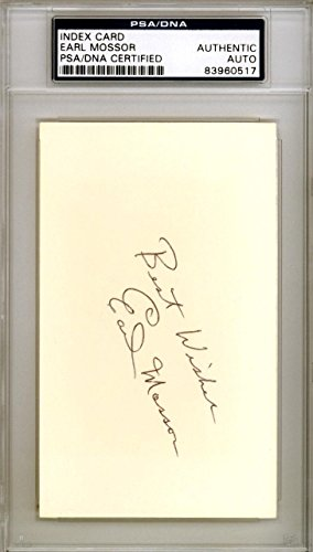 Earl Mossor Autographed Signed 3x5 Index Card Brooklyn Dodgers #83960517 PSA/DNA Certified MLB Cut Signatures
