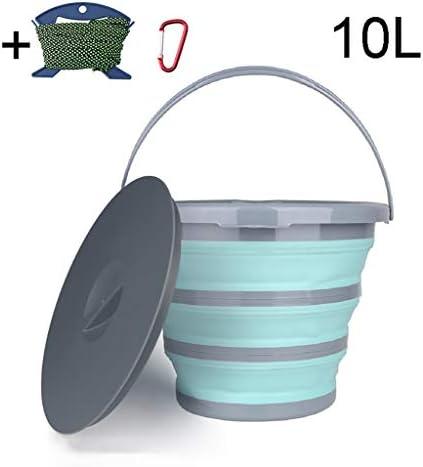 ZDST Faltbarer Kunststoffeimer 10 Liter mit Deckel faltbar mit Clip und Seil zum Angeln im Garten der Küche