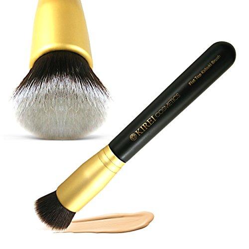 Kirei cosmétiques plat pinceau Kabuki supérieure, la meilleure Fondation brosse de maquillage pour le visage, parfait pour le polissage et le mélange poudre crème, liquide, minéral, sans cruauté, Vegan, soies de qualité Premium