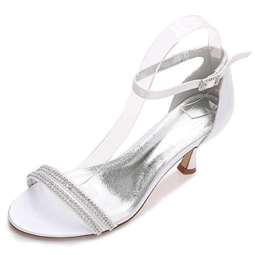 Las Elegant de Boda de shoes de Zapatos F17061 Pump de Boda de high Basic La White Rhinestone La 61 Personalizados Zapatos Plataforma Mujeres Confort Raso rwxqYnr5U