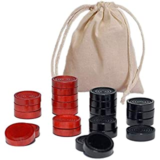 WE Games Wood Checker Pieces with Cloth Pouch - Red & Black 1.5 in. Diameter