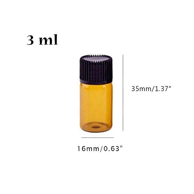 50 unidades, 1 ml Botella de aceite esencial de cristal /ámbar 1//4 Danmu Art con reductores