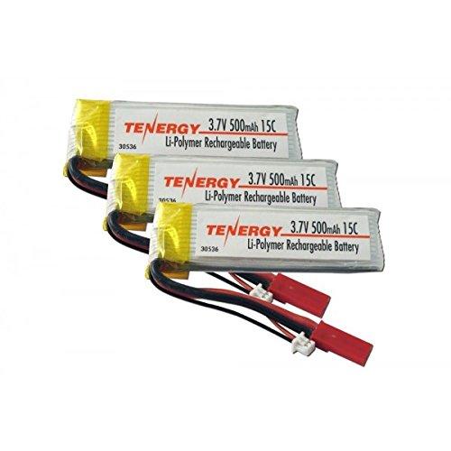 3pcs Tenergy 3.7V 500mAh 15C #30536 LiPO Battery - Hobby Zone Champ & More