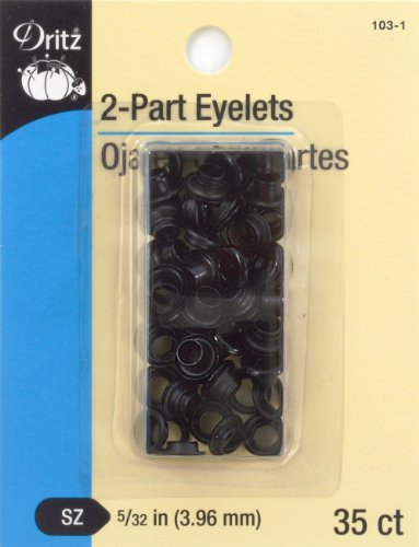 Dritz 103-1 2-Part Eyelets, 5/32-Inch, Black, 35 Count