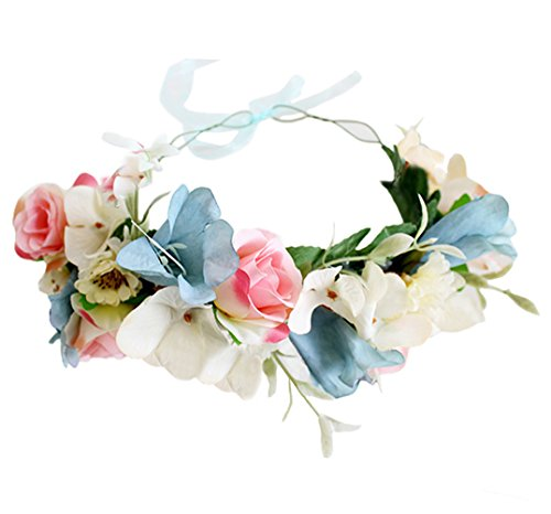 (Vivivalue Floral Garland Headband Wedding Floral Crown Hair Wreath Flower Headpiece Halo Boho with Ribbon Party Prom Festival Photos Blue )