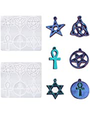 WOPODI Pentagram Hexagram Molds, Resin Crystal Epoxy Silicone Mold, Mixed Magic Pentacle Hexagram Star Protection Lucky Charms Pendants DIY for Necklace Pendants Jewelry Making Handmade Tools