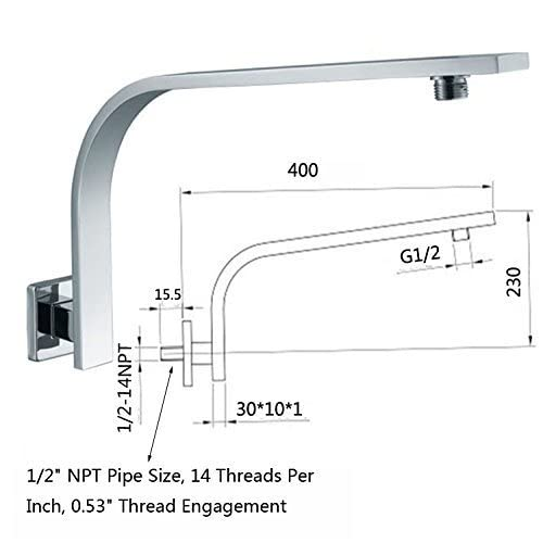 good HANEBATH Brass GOOSENECK Extension Shower Arm and Flange - 1/2-14 NPT Male Thread , 0.53-inch Thread Engagement, North American Standard , Chrome