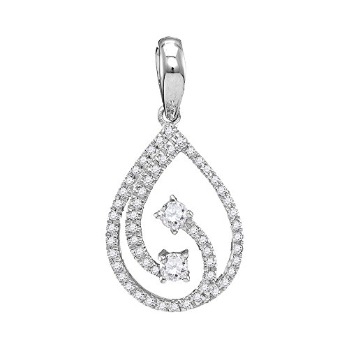 Diamond Heart Drop Pendant - 10kt White Gold Womens Round Diamond 2-stone Hearts Together Teardrop Pendant 1/5 Cttw