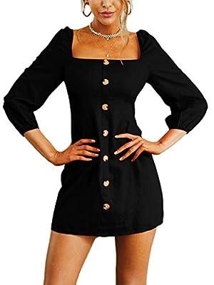 Royalove Womens Long Sleeve Square Neck Button Down Causal Dresses Elegant Mini Dress