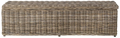 Safavieh Home Collection Caius Natural Wicker Storage Bench (Wicker Trunk Gray)
