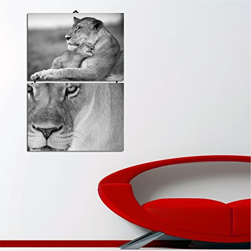 LaModaHome Decorative 100% MDF Wall Art 2 Panels with Rope Connection (14'' x 20'' Total) Ready to Hang Painting Animal Cat Lion Africa Wild Savannah Dangerous by LaModaHome