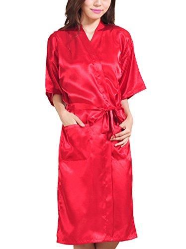 Feoya Pyjamas robe Satin Long Peignoir avec Poches pour Homme Femme - Rouge