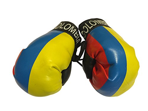 - Flag Mini Small Boxing Gloves to Hang Over Car Automobile Mirror - Americas (Country: Colombia)