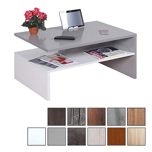 RICOO WM080 W-PL, Mesa Centro salon, 90x41,5x59,5cm, Mueble Auxiliar para Salon, Rectangular, Diseno Moderno, Decorativo, Madera Color Gris