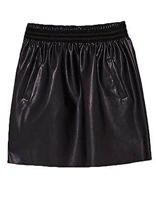 Arctic Cubic Elastic Waist Pleated Pocket Side PU Faux Leather Mini A-Line Skirt Black