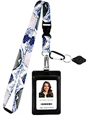 Hokusai the Great Wave Print Lanyard with PU Leather ID Badge Holder Wallet with 3 Card Pockets, Safety Breakaway Clip. Gift of Carabiner Keychain Flashlight. Lanyard for Cruise or Work.