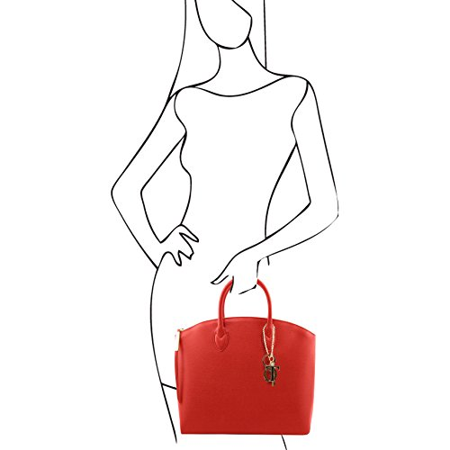 81412294-KL - TUSCANY LEATHER: TL KEYLUCK -N- Sac cabas en cuir Saffiano - Grand modèle, Rouge
