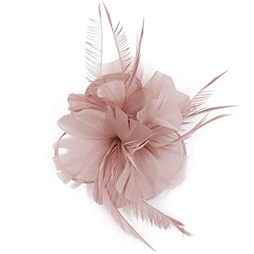 CHUANGLI Feather Headware Fascinator Hair Clip Plume Pillbox Cocktail Derby Hat Hair Accessories Pink -