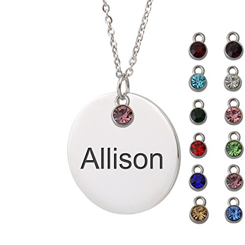 HUAN XUN Allison Name Name Necklaces for Women Round Initial Necklace Personal Jewelry Birthday Valentine Gift ... from HUAN XUN